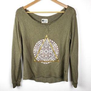 Billabong | Green Graphic Pullover Sweater Medium